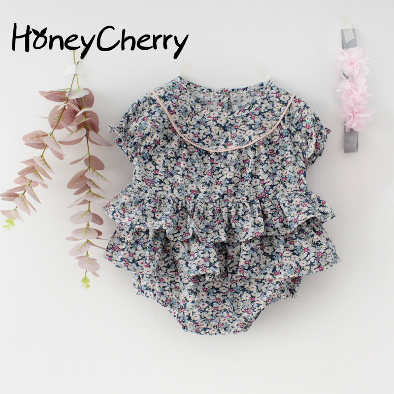 Summer Baby Bodysuit Baby Children's One-piece Clothes Baby Girls' Small Floral Cotton Short Sleeve Hardcover Creeper