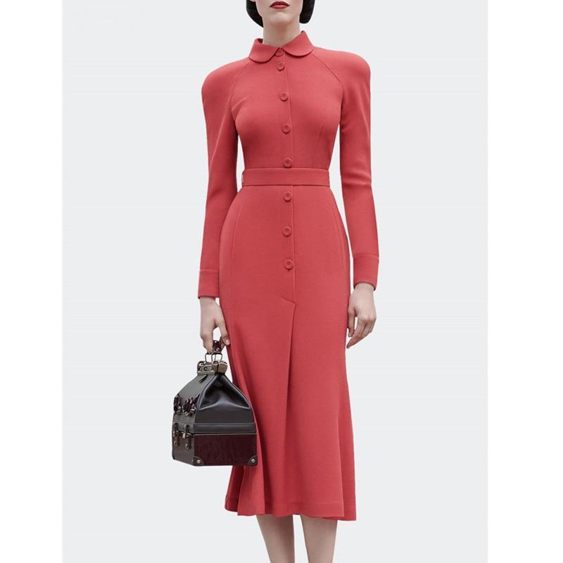 Image 5 - dressing dresses for women creamy white audrey hepburn dress  peter pan collar belted button midi business dress for women  officeDresses