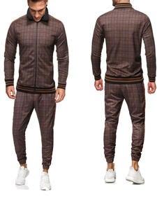Tracksuit Men Sweatshirt Men-Sets Plaid Zipper Fashion Gentlemen Brand Sporting-Suit