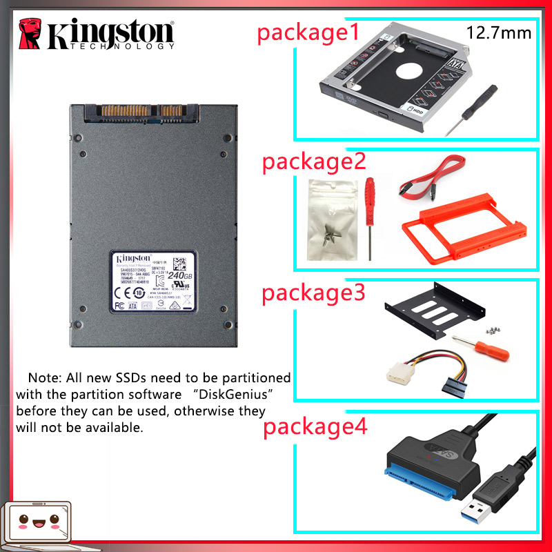 Original Kingston SSD жесткий диск 240 gb SATS 3 HDD 2,5 zoll Disco Duro ssd mit Hdd Caddy/Optibay oder Adapter Für PC Laptop