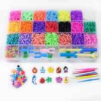 Rainbow Rubber Bands Refill Set Bracelet Necklace Maker Kit Small Crochet Clip Pendant Bead Hook DIY Crafting Weaving Needlework
