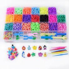 Rainbow opaski gumowe zestaw do napełniania bransoletka naszyjnik Maker Kit mały szydełko klip wisiorek koralik hak DIY Crafting tkactwo robótki