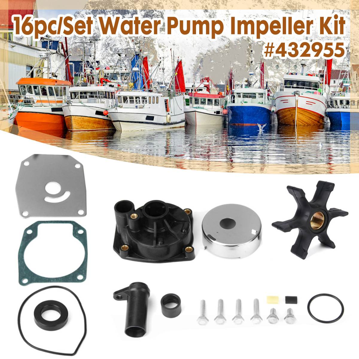 Impeller Water Pump Repair Kit For Johnson Evinrude 3 CYL 60 65 70 75 For HP 432955, 438591, 432956 436957 4601873 0432955
