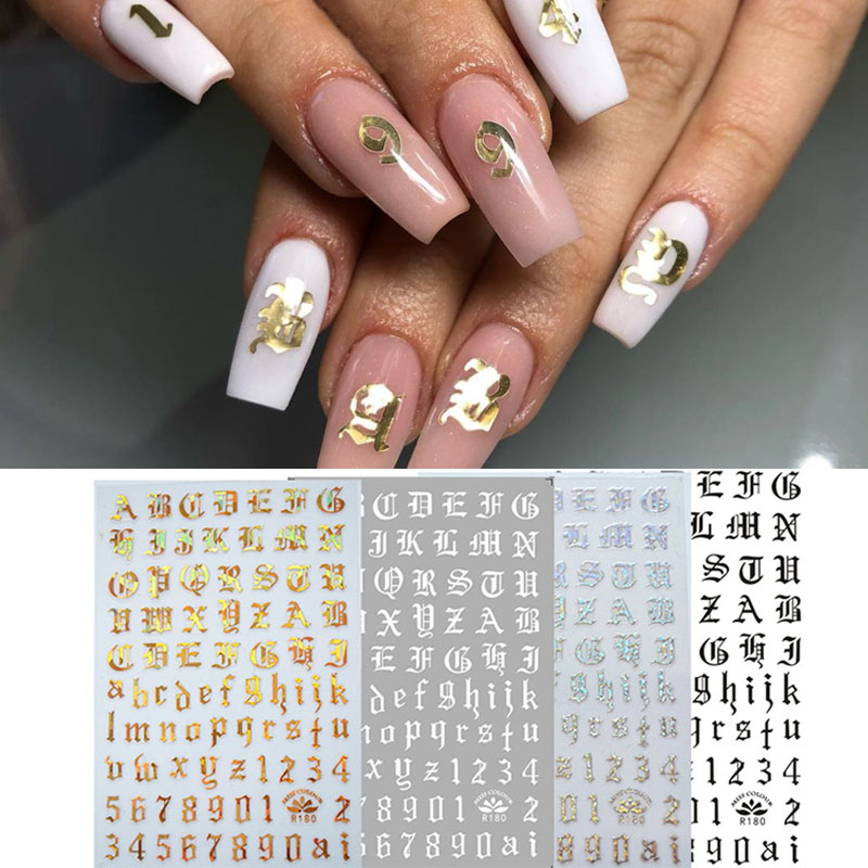 Nail Art 3d Decal Stickers Alphabet Letters Number Nail Designs White Black Gold Acrylic Nails Tool Aliexpress