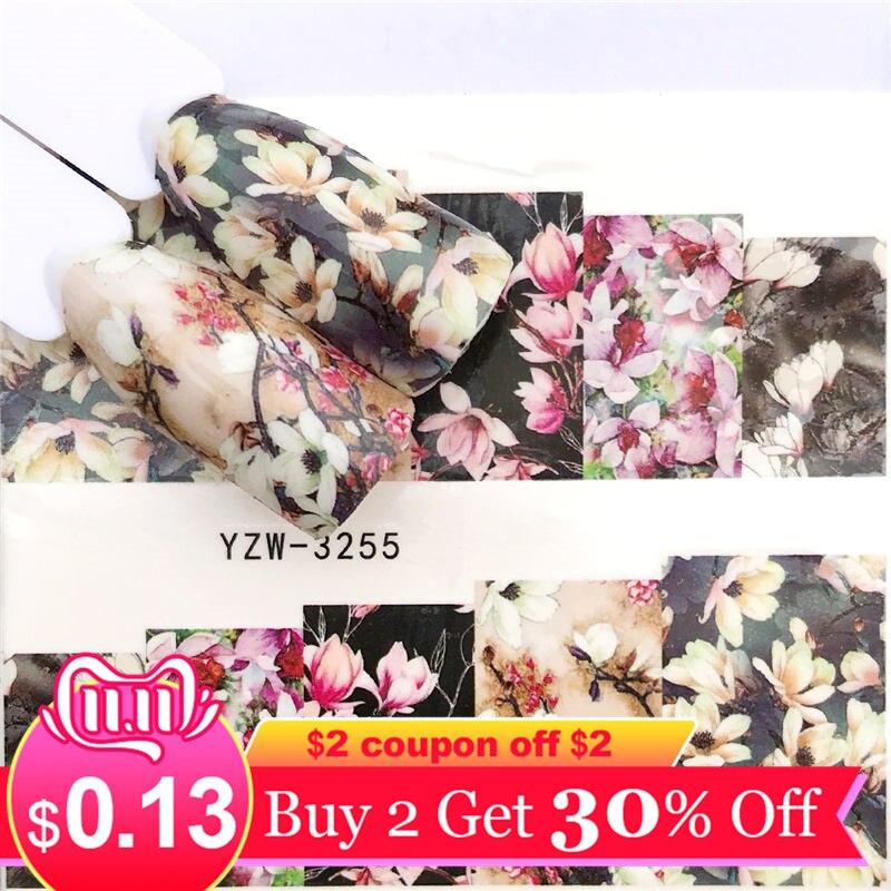 Ywk 1 folha 2019 leopardo/rosa preta/flor arte do prego decalques de água transferência adesivo manicure decoração do prego