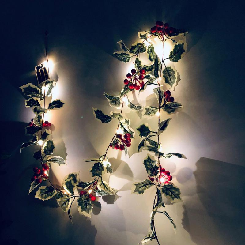 2M Christmas Tree Decoration Leaf Garland String Fairy Lights LED Light Battery Party Wedding Christmas Xmas Leaf Garland String