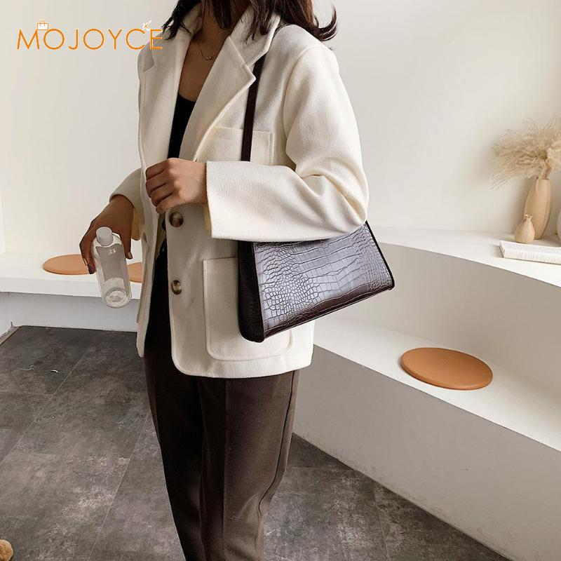 Women Handbag Retro Alligator Subaxillary Bag Vintage Small Triangle Square Bags Leather Retro Shoulder Bag Solid Color Tote