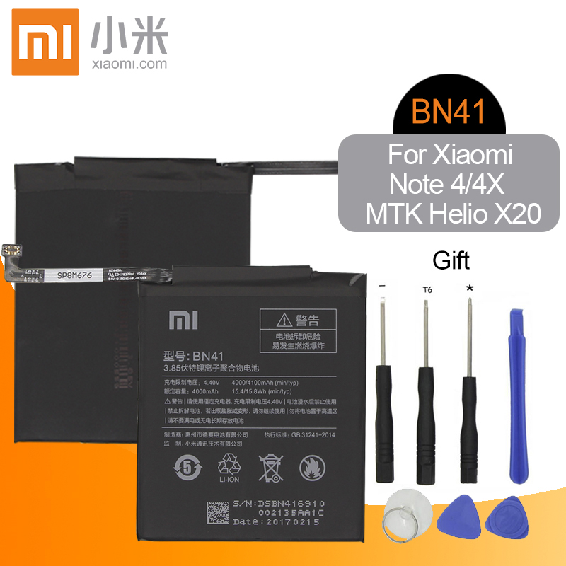 Xiao <font><b>Mi</b></font> BN41 <font><b>Battery</b></font> For <font><b>Xiaomi</b></font> Redmi Hongmi Note <font><b>4</b></font> / Note 4X MTK Helio X20 4000mAh Original Mobile Phone <font><b>Batteries</b></font>+Tools image