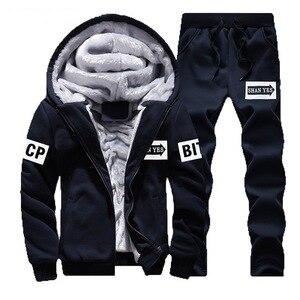 Image 3 - WARM ผู้ชายชุดลำลองหนาขนแกะชุดกีฬาเสื้อ + กางเกง 2 ชิ้นชุด Slim Tracksuit ชาย Hoodies ยี่ห้อเสื้อผ้า