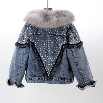New Winter Beaded Denim Jacket Women Rabbit Fur Liner Jeans Jacket Real Fox Fur Collar Parka Coat Plus Size Thick Warm Jean Coat image