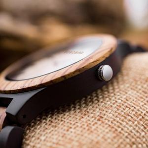 Image 4 - BOBO ptak męskie zegarki Top marka luksusowe heban drewniane zegarek kwarcowy zegarek dla miłośników prezent na rocznicę relojes mujer