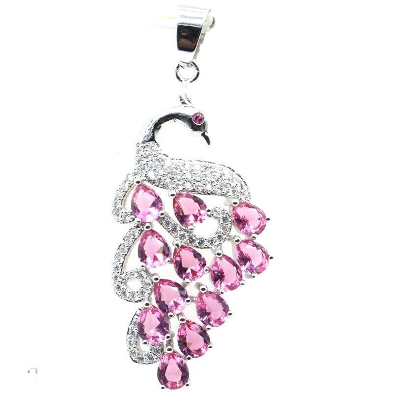 46x20mm SheCrown Fancy Pink Tourmaline White CZ Woman's Gift Silver Pendants