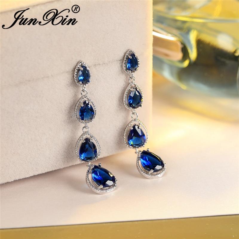 Женские Висячие серьги-капельки с кристаллами и камнями, Длинные свадебные серьги из белого золота с королевским голубым, зеленым, фиолетов...