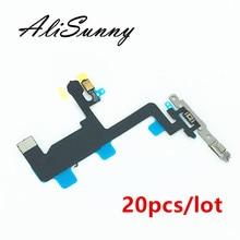 AliSunny 20 adet güç Flex kablo iPhone 6 4.7 6G kapalı düğme mikrofon + flaş Metal dirsek yedek parçaları