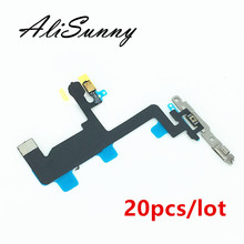 AliSunny  20pcs Power Flex Cable for iPhone 6 4.7 6G On Off Button Microphone + Flash Metal Bracket  Replacement Parts