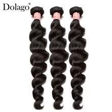 Brazylijski Remy włosy luźne fala ludzka włosy wyplata wiązki naturalne czarny kolor 3 sztuk przedłużanie włosów Dolago produkty do pielęgnacji włosów