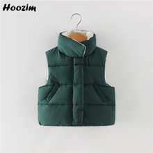 Зимняя однотонная жилетка для мальчиков от 18 месяцев до 6 лет, Повседневная Зеленая куртка без рукавов с высоким воротником модная бежевая куртка для девочек