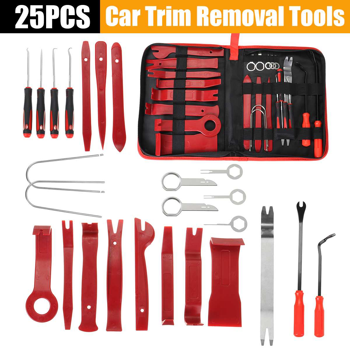 25pcs Car Disassembly Tools DVD Stereo Refit Kits Interior Plastic Trim Panel Dashboard Installation Removal Repair Tools