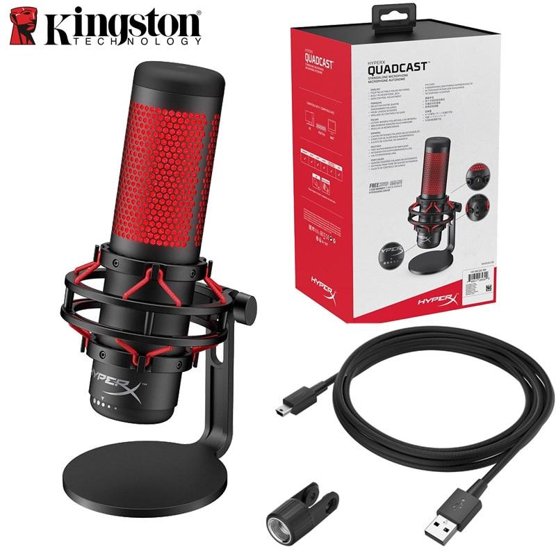 Kingston hyperx quadcast gaming microfone microfone de computador profissional ao vivo migrofono destacável para pc, ps4 e mac