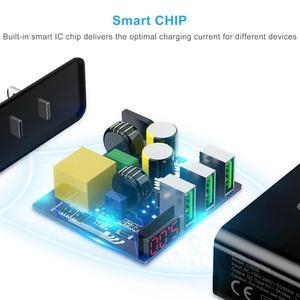 Image 3 - Choetech 3 Cổng USB 5v3A Sạc Cho iPhone XS X 8 7 LED Hiển Thị Kỹ Thuật Số Nhanh Điện Thoại Treo Tường Sạc Dành Cho samsung Xiaomi Asus