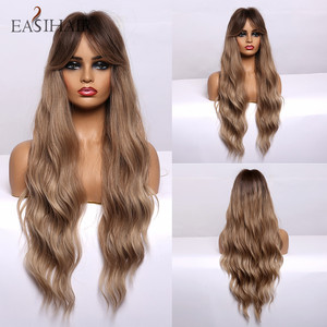 Image 4 - EASIHAIR Long Brown Body Wavy Synthetic Wigs With Bangs High Density Wigs for Women Cosplay Wigs Heat Resistant Hair Wig