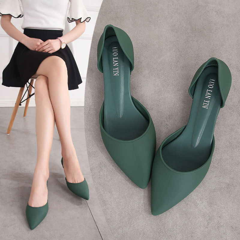 LXCMND Summer Pumps Elegant Slip On Women's Ladies Women Pointed Toe Woman Thick Beach Shoes  2020 Fashion Crystal Jelly Shoes