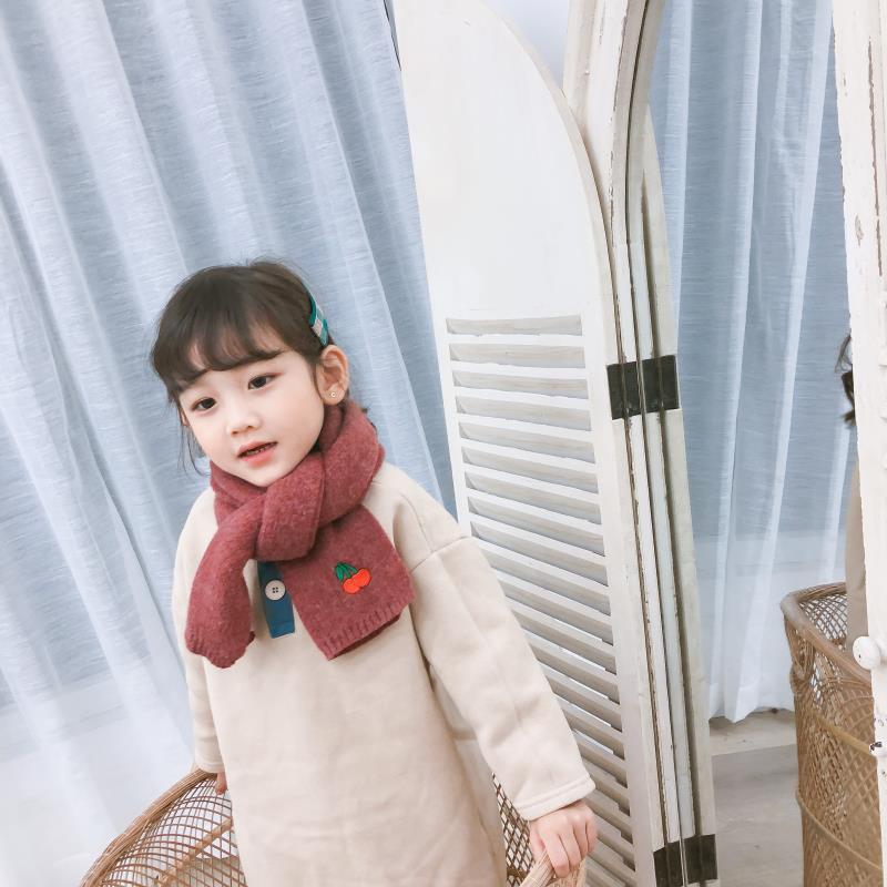 Korean Knit Wool Solid Stitch Soft Warm Autumn Winter Thick Kids Children Boys Girls Shawls Wraps Scarves Accessories-LHC