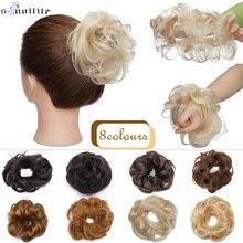 S-ноилит 23 г 100% 25 натуральный натуральный волосы кудрявый пончик шиньон кольцо шиньон для женщин натуральный цвет не Реми наращивание бразильский волосы