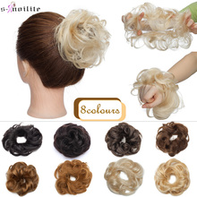 S-noilite 23g 100% Real Human Hair Curly Donut Chignon Ring Hairpiece For Women Natural Color Non-Remy Extension Brazilian Hair