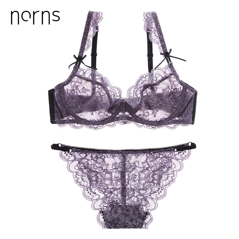 Norns Women Plus Size Lingerie Sexy Ultrathin Transparent Bra Panties Lace Bra Set Bralette Set Underwear