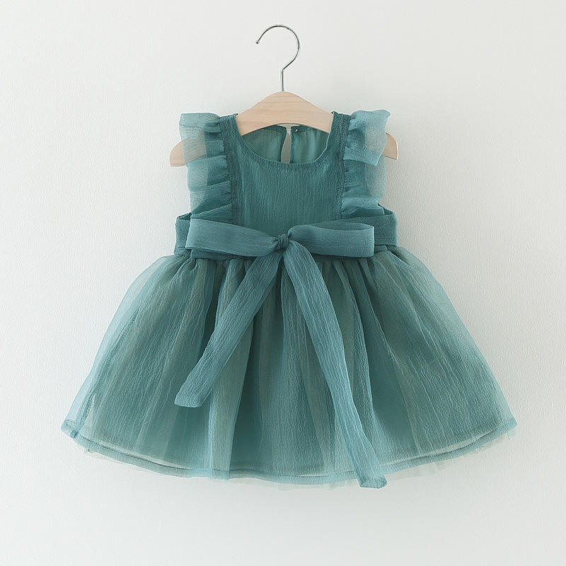 New Summer Baby Dress Bow Tulle Dress Newborn Baby Dress Baby Girl Princess Party Birthday Dress For 0-24M Girl Clothes