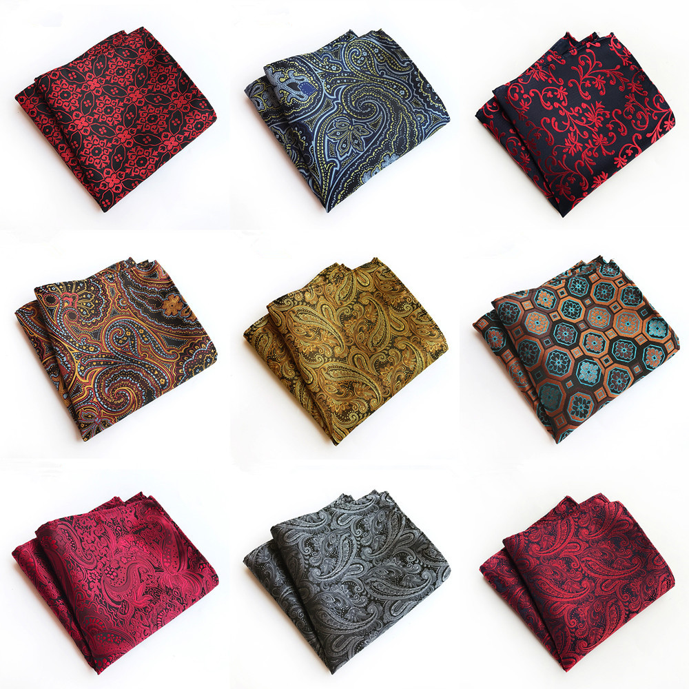 Classy Paisley Floral Mens Silk Handkerchiefs Purple Green Blue Grey Mens Business Wedding Pocket Square Suit Accessories A065