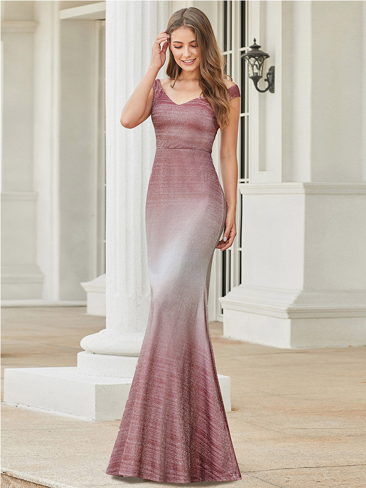 Prom-Dresses V-Neck Sparkle Vestidos-De-Gala Ever Pretty Mermaid Burgundy Double Sleeveless