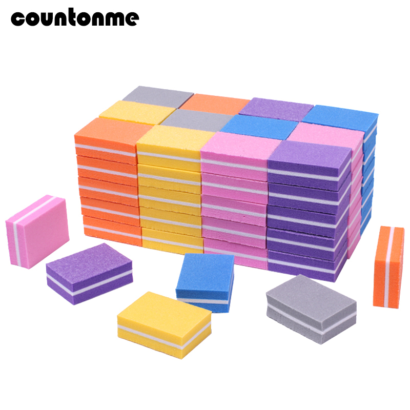 100pcs Mini Nail File 100/180 Disposable Nail Buffer Block Sponge Women Manicure Tool Nail Polish UV Gel Lime A Ongle Wholesale