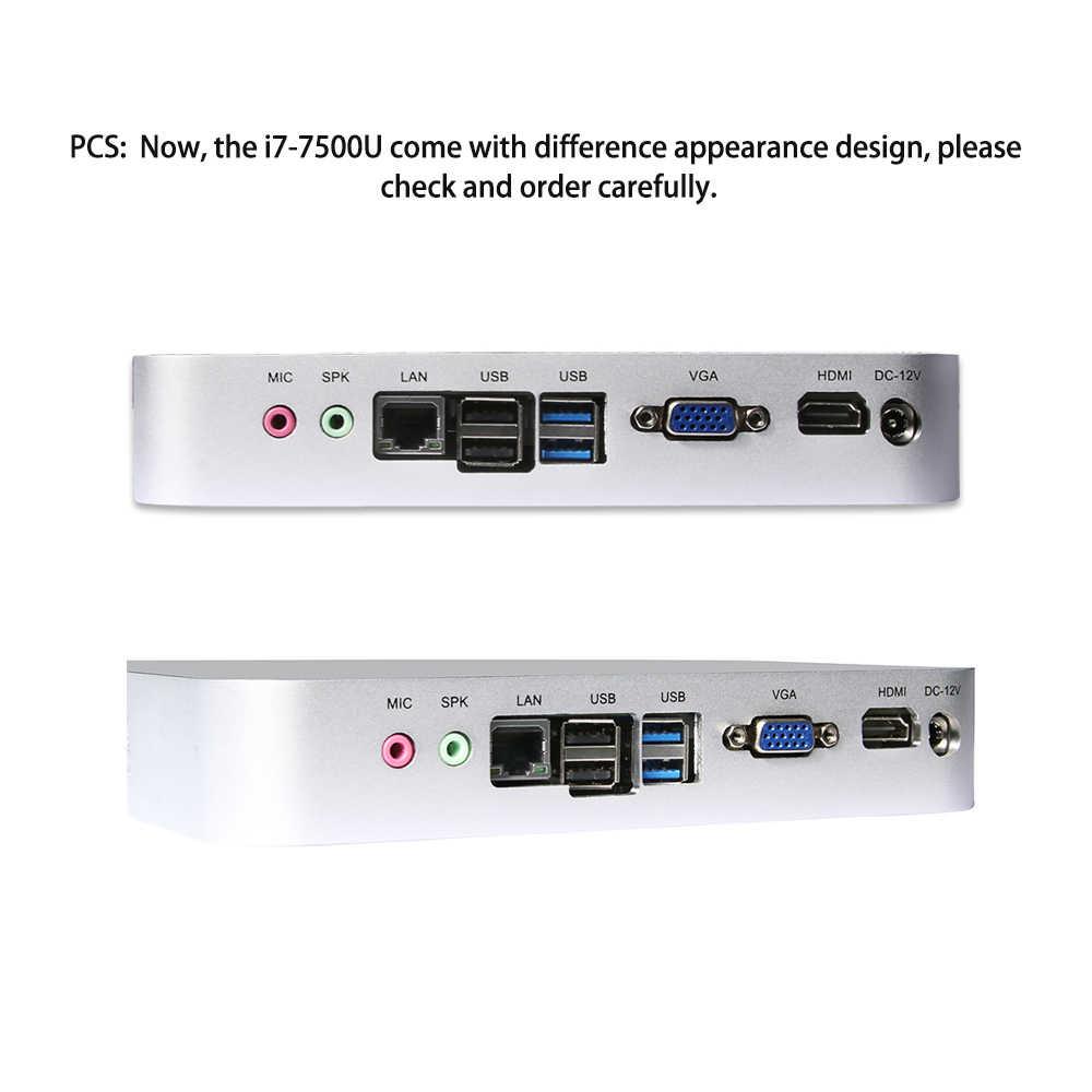 Intel Core CPU Mini PC I7 7500U I5 7200U I3 7100U Komputer Mini 300M WIFI HDMI VGA 6 * USB Windows 10 4K Game Komputer