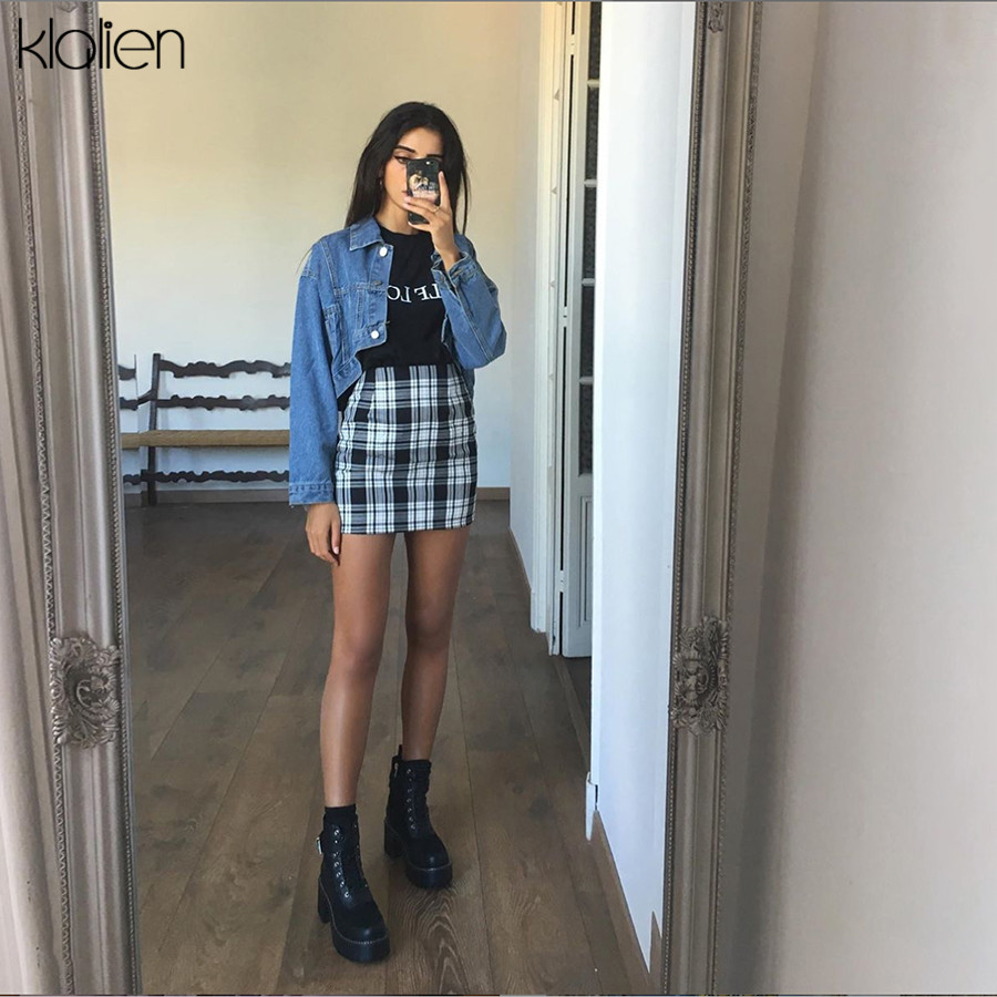 KLALIEN Vintage British Style Black Plaid Women High Waist Side Zipper Mini Skirt 2019 Summer Fashion High Street Skirts Mujer
