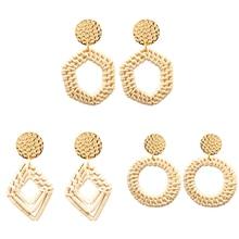 3 Pairs/ Set Fashion Handmade Rattan Drop Earrings for Women Elegant Geometric Hollow Dangle Jewelry