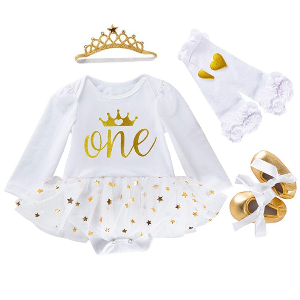 Bebê recém-nascido meninas roupas de aniversário vestidos para 1st primeiro aniversário festa macacão + bandana 1 ano baptizado tutu vestido 4 peças conjunto
