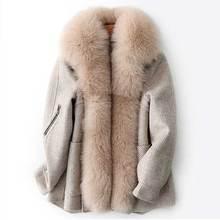 Женская теплая куртка со съемным кроличьим мехом, куртка бомбер с лисьим меховым воротником, зима 2019