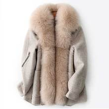 2019 Women Winter Coat Fox Fur Collar Women Thick Warm Jacket Coat Detachable Rabbit Fur Inner Women Bomber Coat Casaco Feminino