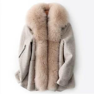 Image 1 - Abrigo de invierno con cuello de piel de zorro saco Bomber de mujer Mujer
