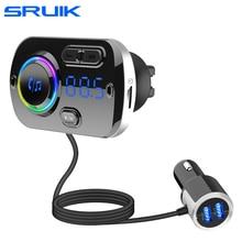 Sruik carro fm transmissor bluetooth 5.0 fm modulador usb carregador de carro kit mãos livres chamando leitor de música visão noturna led luz