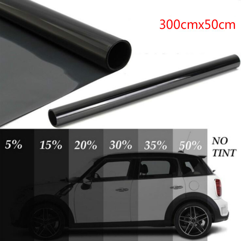 300cmx50cm Black Car Window Foils Tint Tinting Film Roll Car Auto Home Window Glass Summer Solar UV Protector Sticker Films-in Side Window from Automobiles & Motorcycles