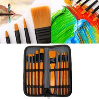 10Pcs/Set Paint Brushes Kit With Yellow Wooden Handle Nylon Hair For Acrylic Oil Watercolor Drawing Supply