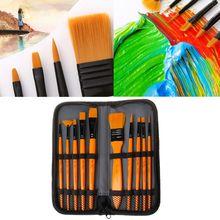 10Pcs/Set Paint Brushes Kit With Yellow Wooden Handle Nylon Hair For Acrylic Oil Watercolor Drawing Supply цена в Москве и Питере