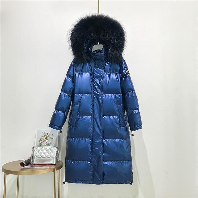 Big Real Raccoon Fur Collar 2019 Hooded Winter Jacket Women Long  White Duck Down Parkas Coat Female Loose Thick Warm Outwear 5