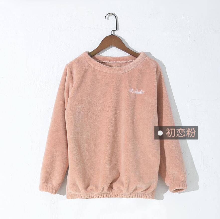 Зимние фланелевые длинные штаны для сна; Толстая Теплая Повседневная Домашняя одежда; повседневные пижамные брюки; мягкие свободные брюки; одежда для сна - Цвет: Tops-Pink