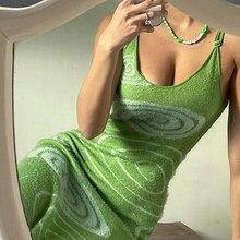 Vestido de verano de punto con tirantes finos, ajustado, con estampado verde, Y2K