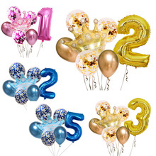 7 pçs coroa dourada conjunto de lantejoulas azul rosa coroa festa de aniversário decoração folha de alumínio balão 32 polegada idade número um ano velho cel