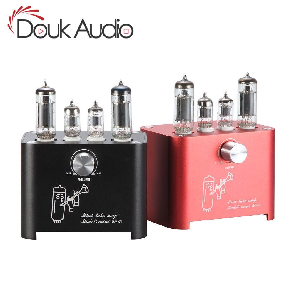 Duk Audio Mini 6J1 + 6P1 amplificador de tubo de vacío estéreo HiFi de escritorio amplificador de válvula de alimentación 3W + 3w